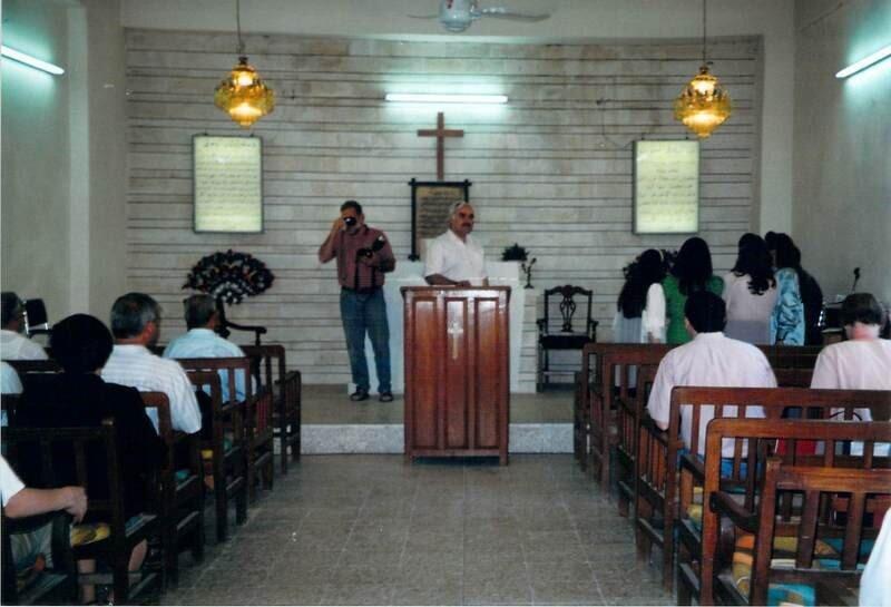 Inside the sanctuary of Mosul Church, 2002