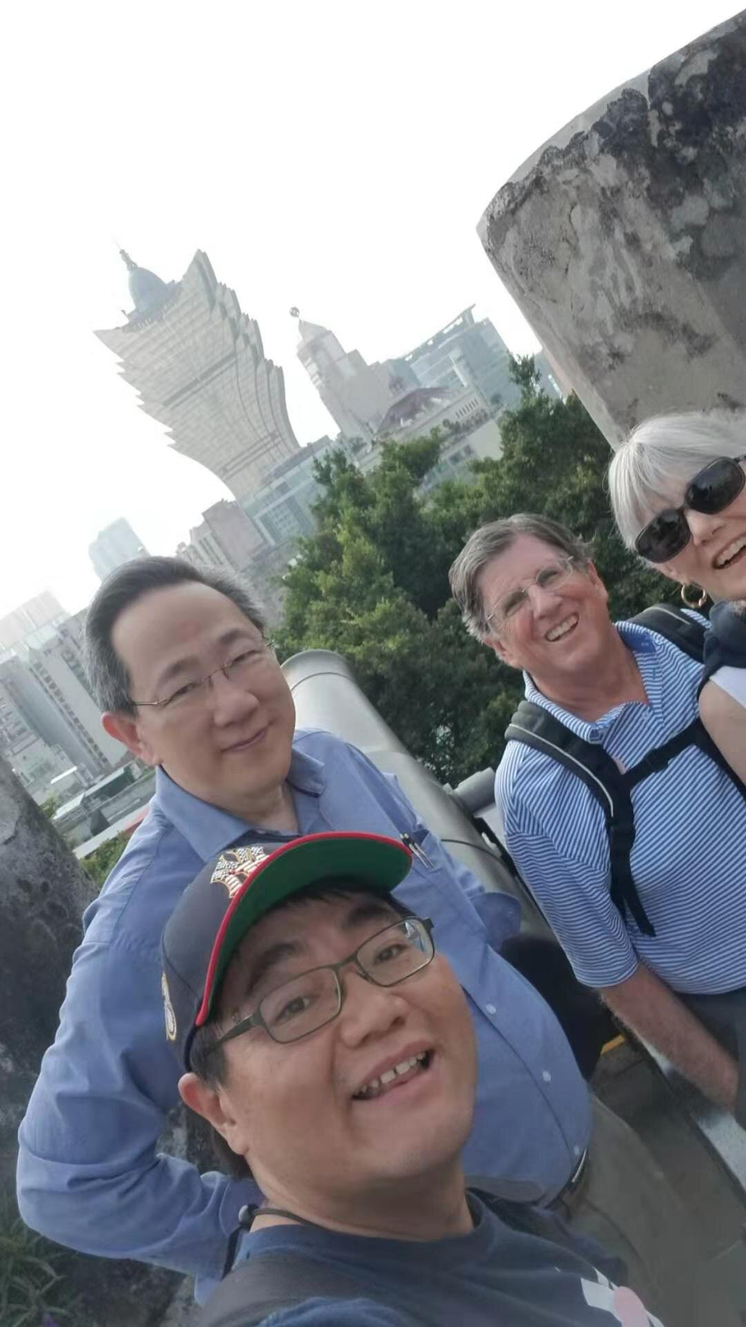 Part of the group making a stop in the island of Macau prior to their arrival