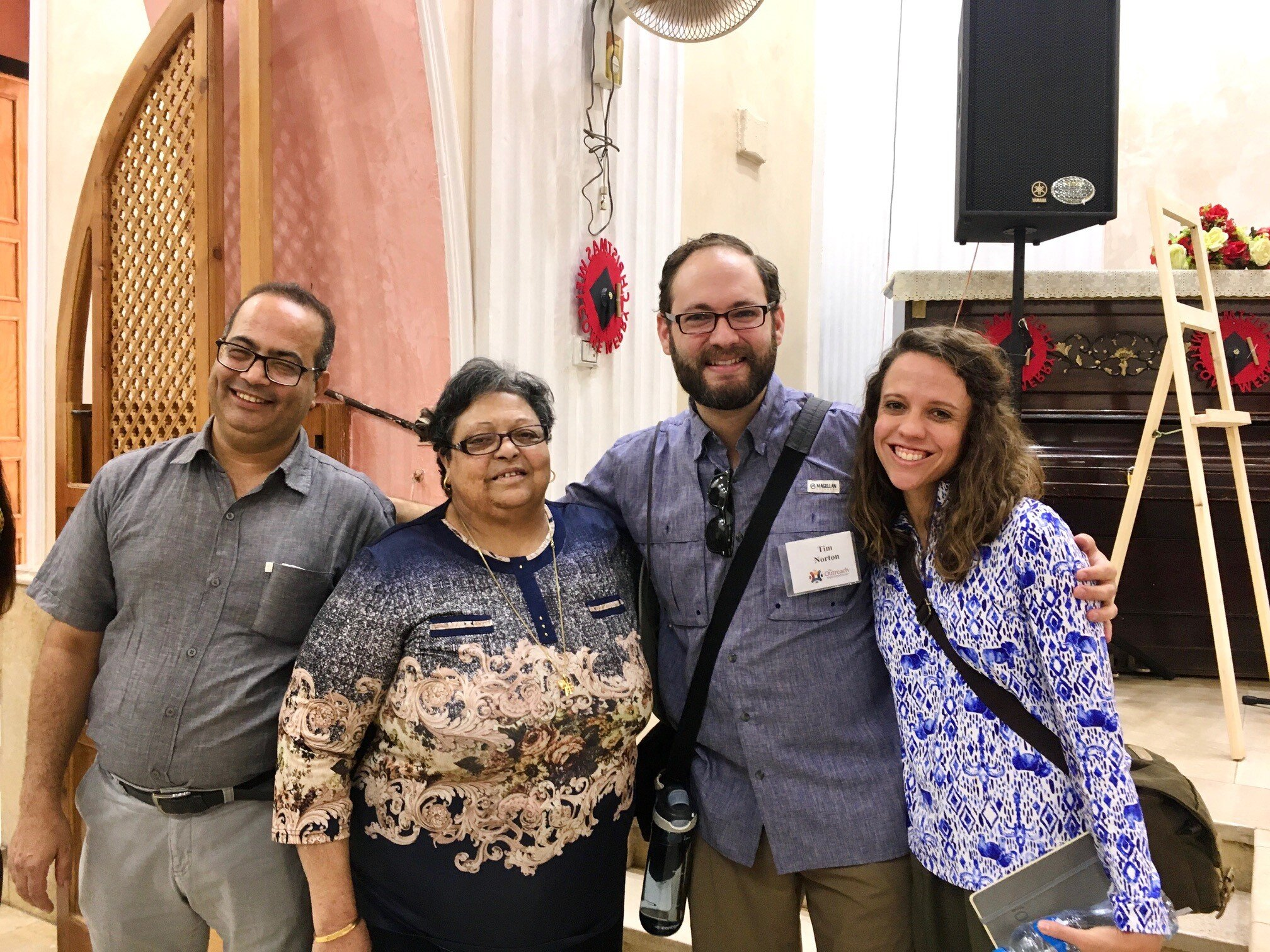 Our visit to the Synod of the Nile schools, located down the street from the Presbyterian Church of Luxor. Left to right: Rev. Mahrous Karam, the headmistress of the school, and Tim and Kendra Norton.