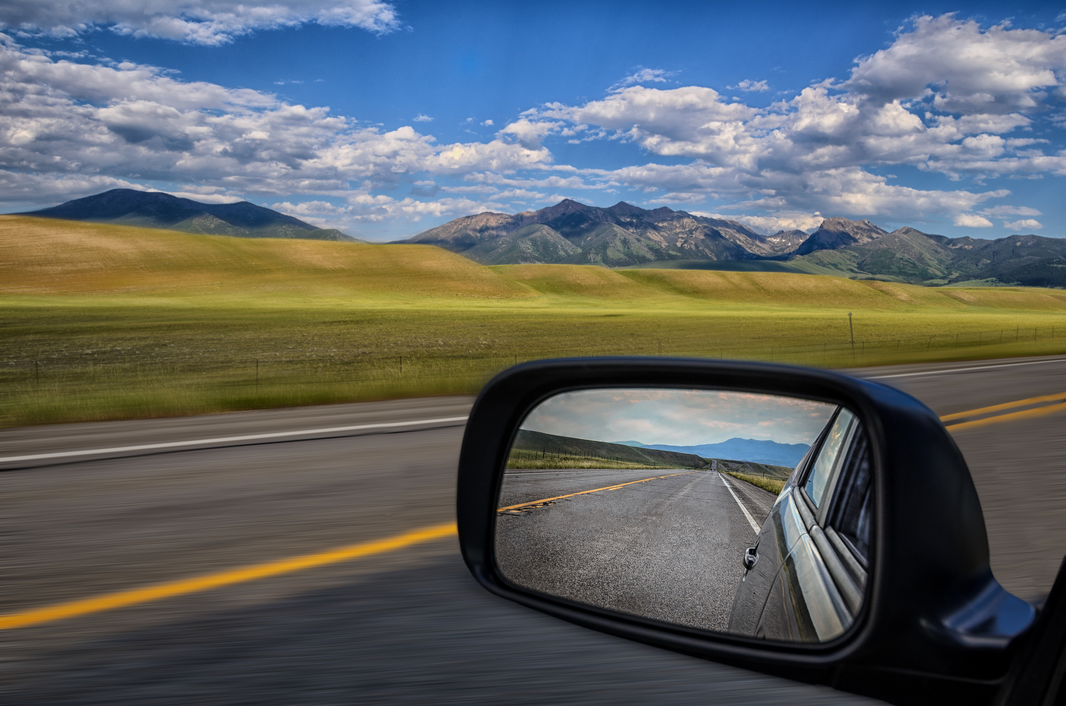 Mirrors are for glancing back and the windshield is for seeing where you wanna go!