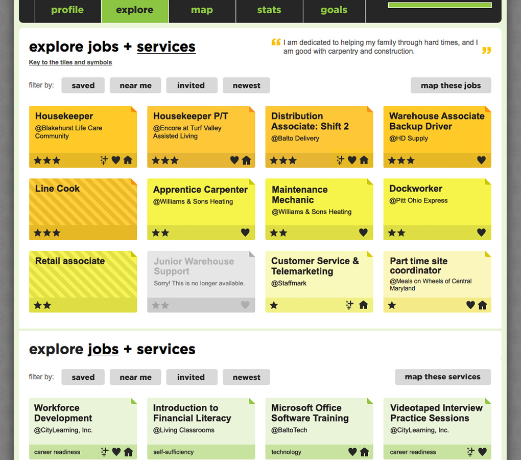 We utilized matching technology to respond with €œgood / better / best job matches for a youth's skills and to highlight service programs that could bring better jobs within reach. A youth's public profile clearly outlines his/her motivation, goals, skills, and achievements. A short introductory video and endorsements add a trustworthy human touch unlike any résumé.