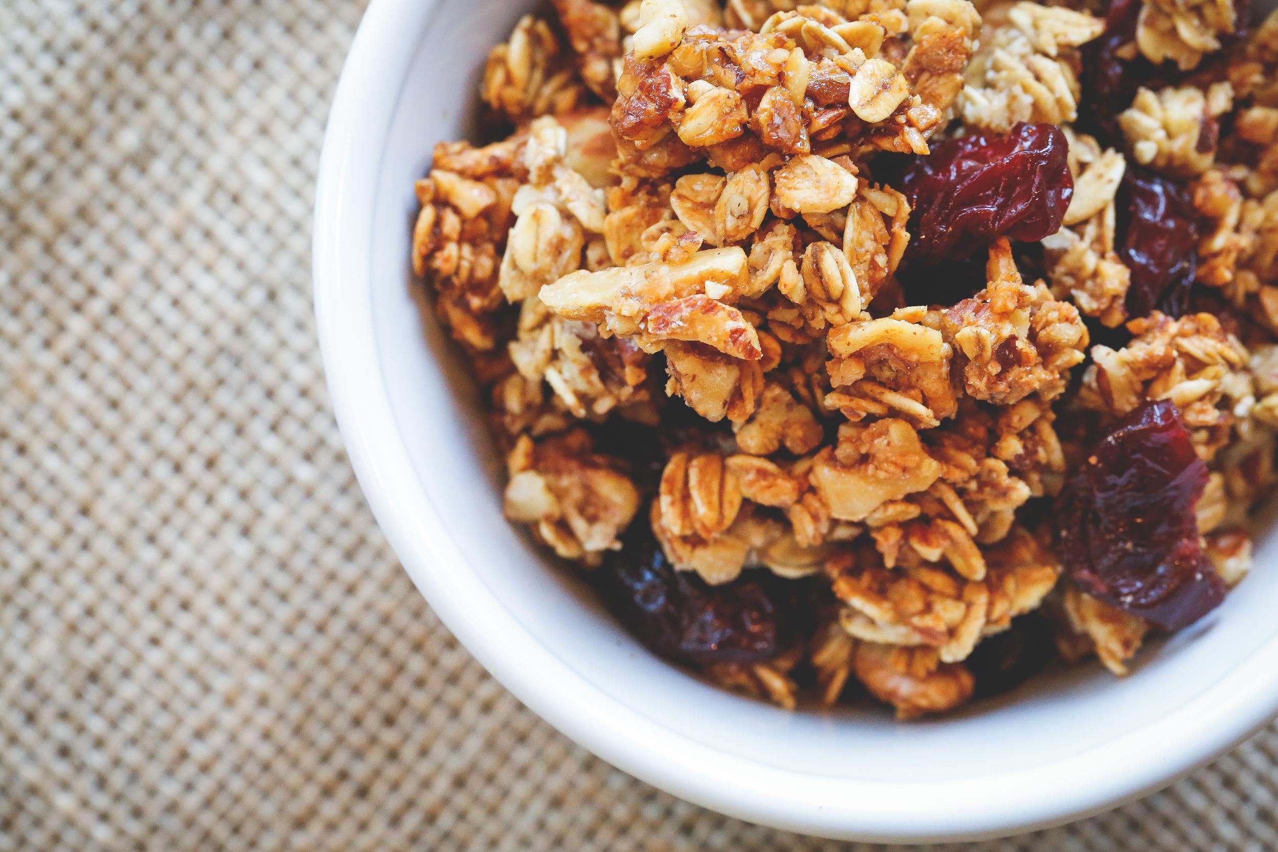 Homemade cherry-vanilla granola