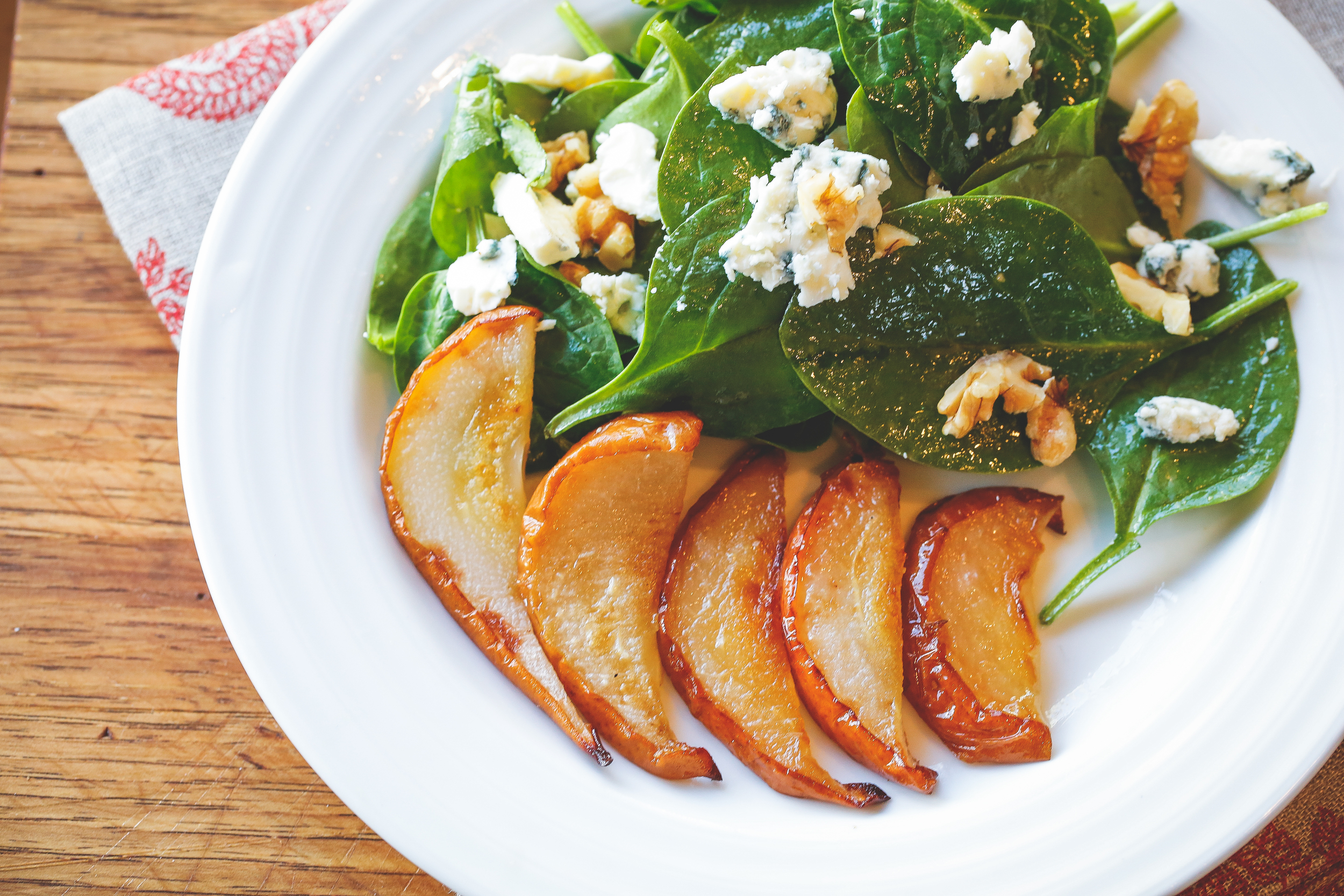 Spinach and Roasted Pear Salad with Walnut Vinaigrette