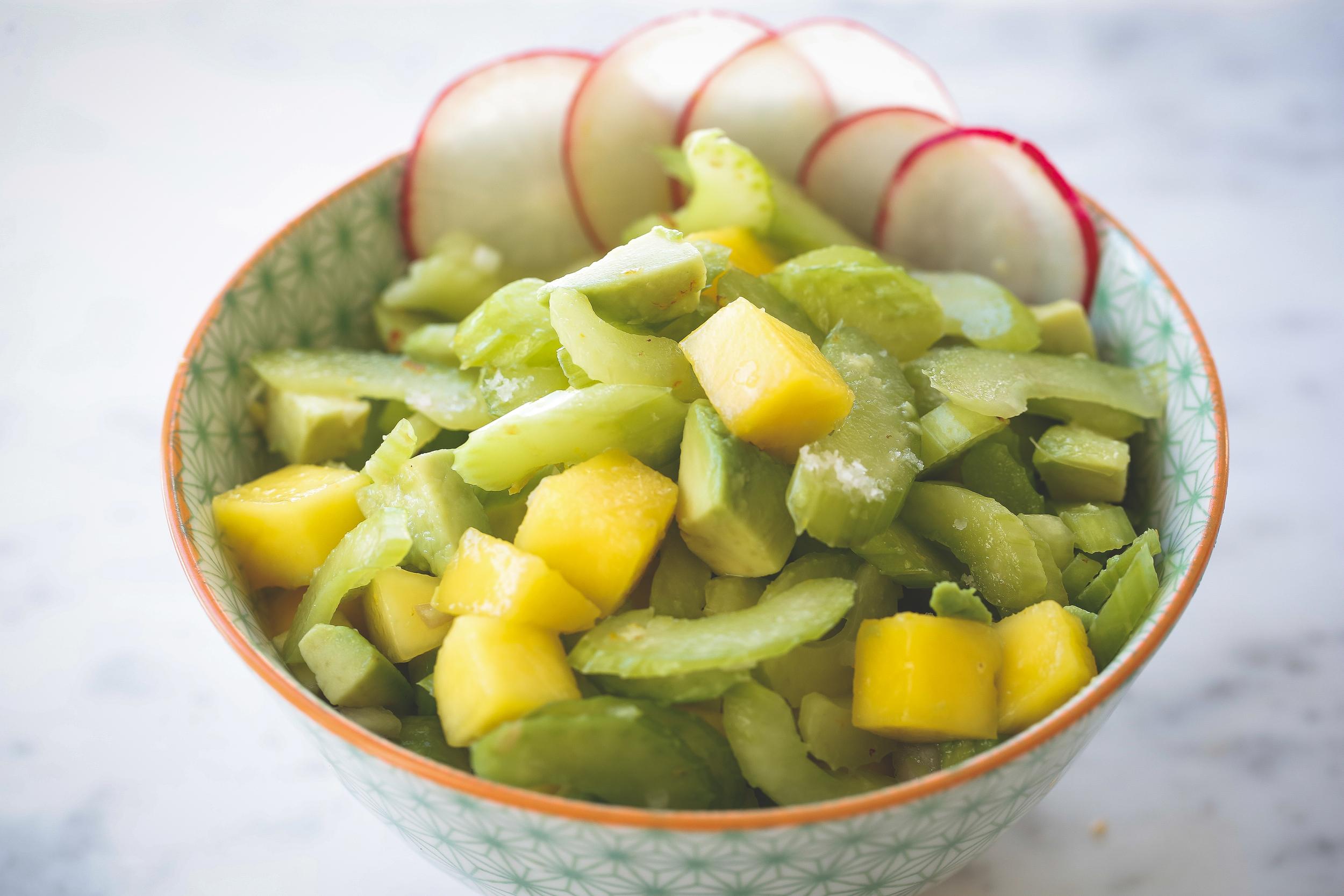 Celery, Mango, and Avocado Salad