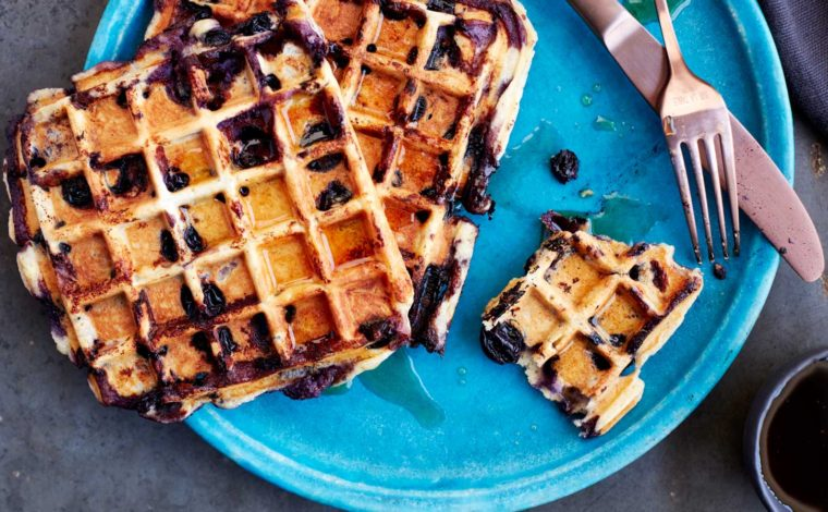 Homemade almond blueberry waffles