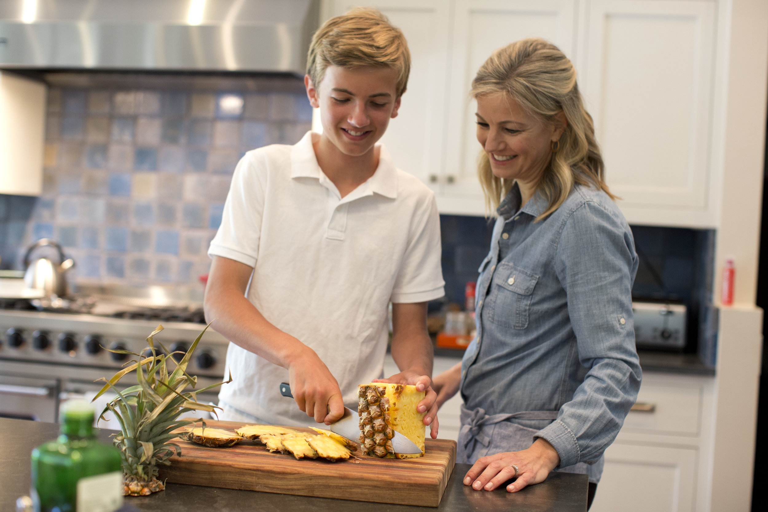 Dr. Julia cooks with her son