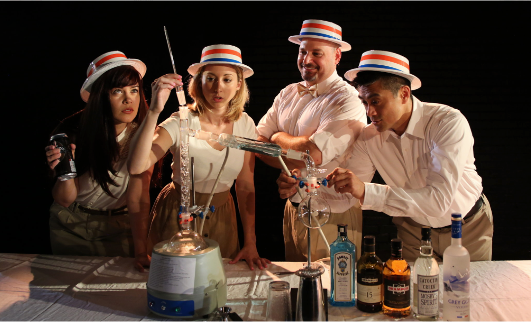 """From left,   Ruthellen Cheney  ,   Nicole DiMattei  ,   Anthony Caporale   and   Ariel Estrada   in   Broadway Studio Theatre  's """"  The Imbible: A Spirited History of Drinking  ,"""" part of the   New York International Fringe Festival.   Credit:   Dixie Sheridan"""