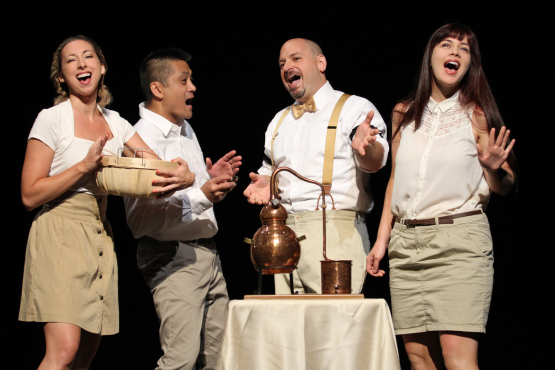 """From left,   Nicole DiMattei   ,   Ariel Estrada  ,  Anthony Caporale   and    Ruthellen Cheney   ,  in   Broadway Studio Theatre   's """"   The Imbible: A Spirited History of Drinking   ,"""" part of the   New York International Fringe Festival."""