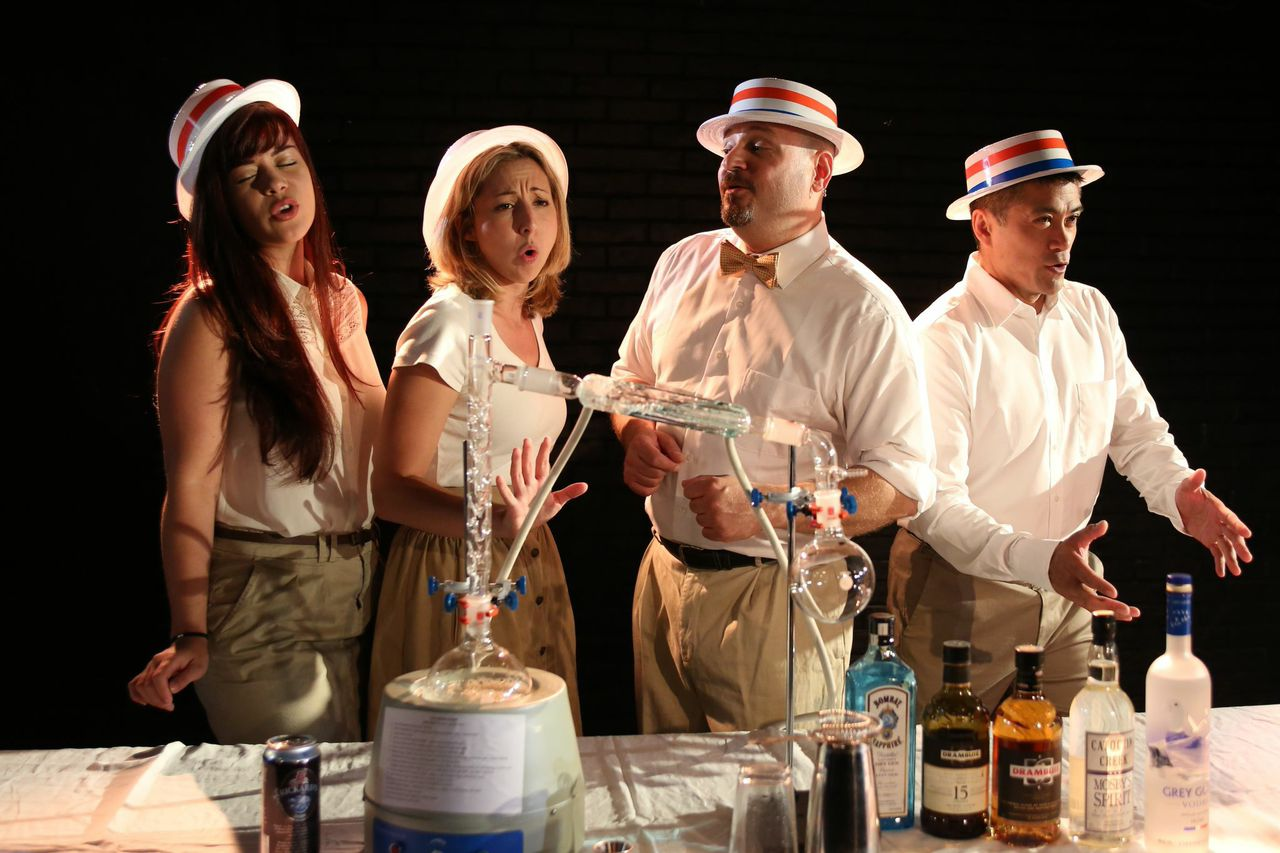 The cast of   Broadway Theatre Studio  's   THE IMBIBLE  , L to R:   Ruth Ellen Cheney  ,   Nicole DiMattei  ,   Anthony Caporale  , and   Ariel Estrada  .