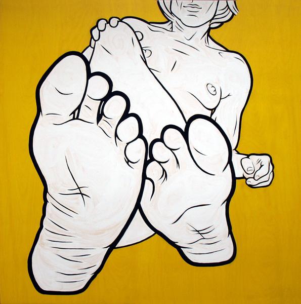 """""""Feet II"""" enamel on panel, 36""""x36"""""""