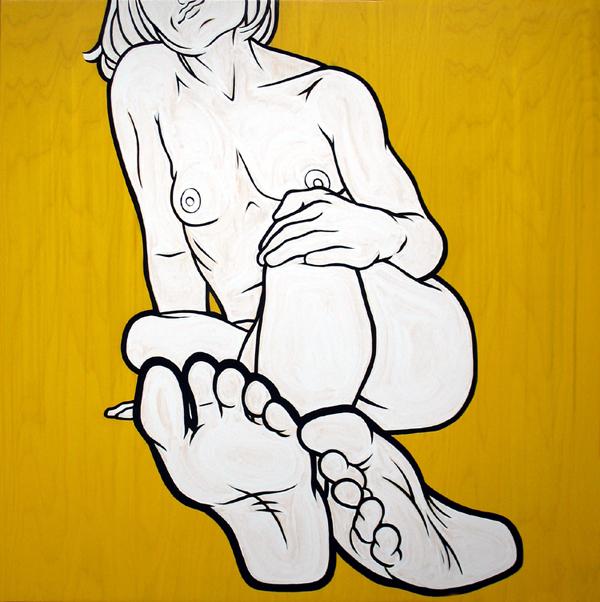 """""""Feet III"""" enamel on panel, 36""""x36"""""""
