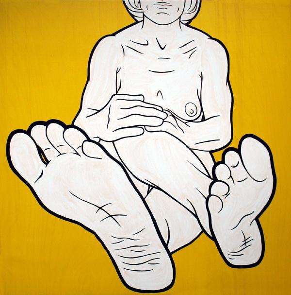 """Feet IV"" enamel on panel, 36""x36"""