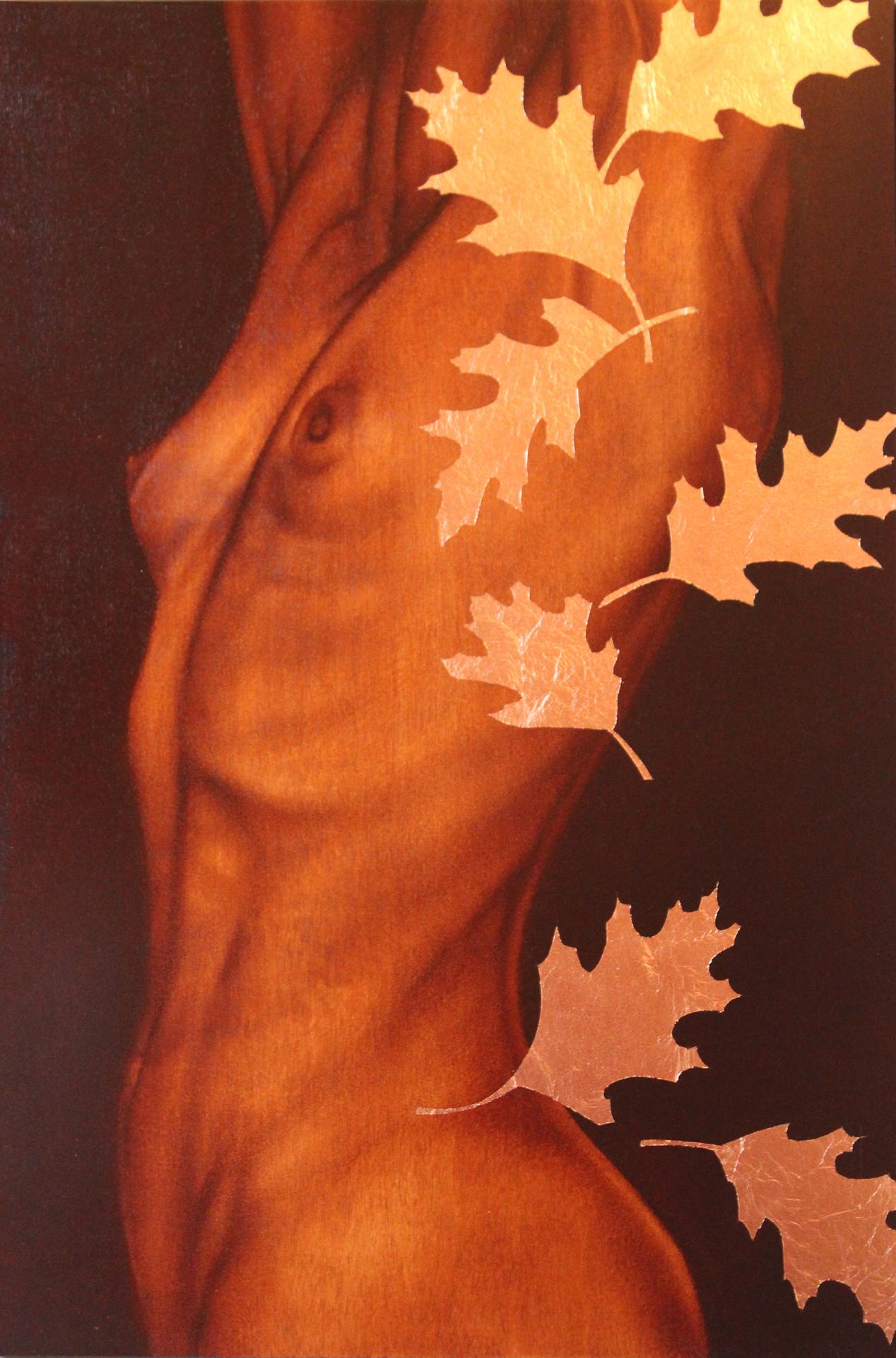 """Trunk V"" 30""x20"" oil & copper leaf on birch"