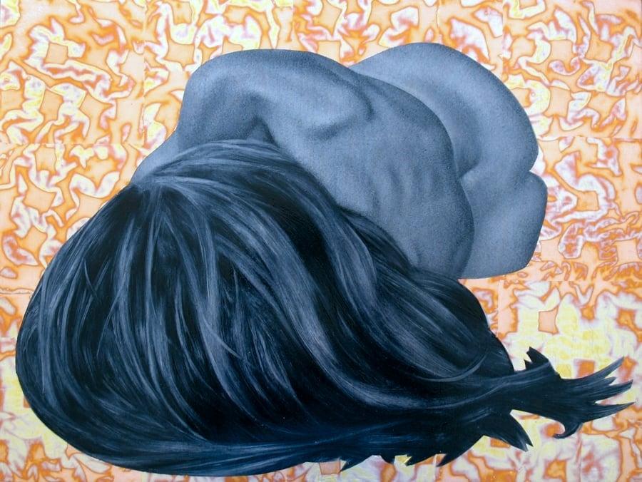 """Sleep VII"" oil, red variegated leaf on birch, 18""x24"""