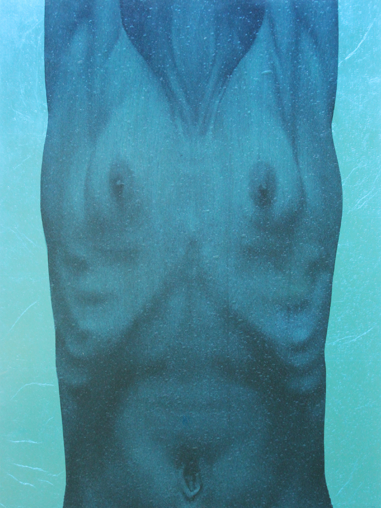 """""""Blue Torso I"""" oil, silver leaf on birch, framed in textured, colored glass, 18""""x20"""""""