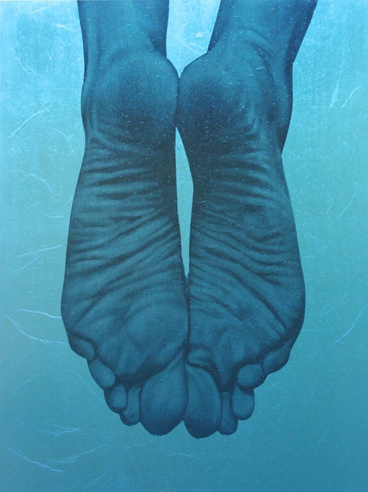 """""""Blue Feet"""" oil, silver leaf on birch, framed in textured colored glass, 20""""x18"""""""