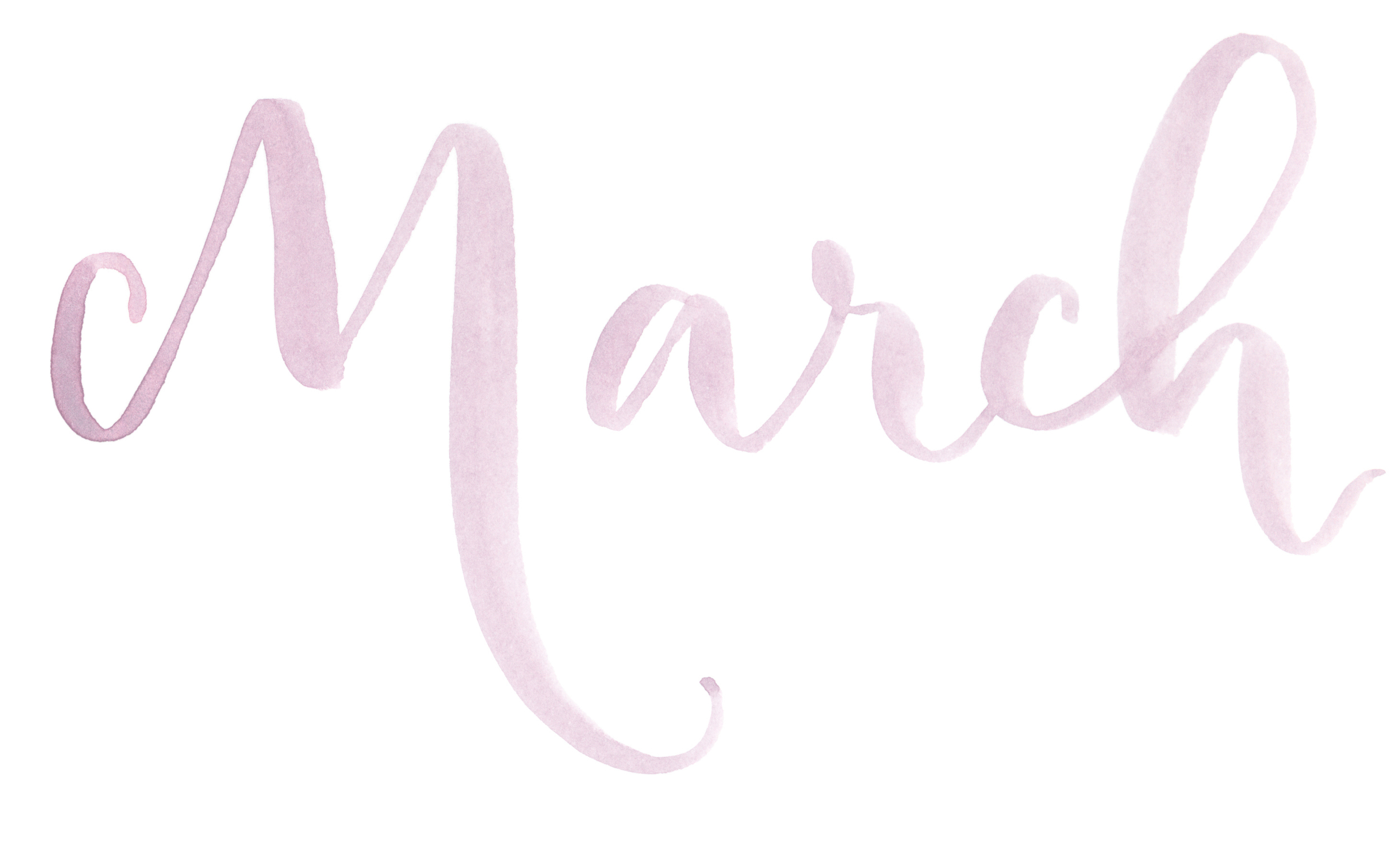 "Names of the months. Hand Lettered watercolor calligraphy ""March"" by A Creative Affair"