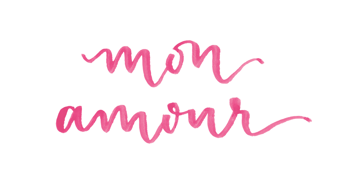 """Mon Amour"" watercolor calligraphy by A Creative Affair.jpg"