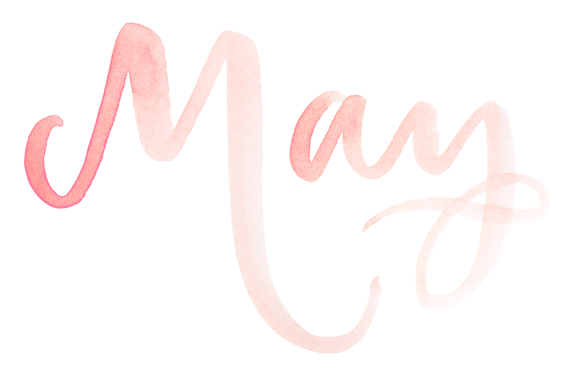 "Names of the months. Hand Lettered watercolor calligraphy ""May"" by A Creative Affair"