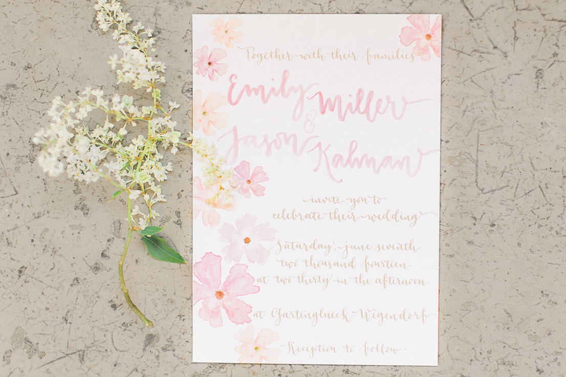 styled shoot watercolor calligraphy invitation by A Creative Affair