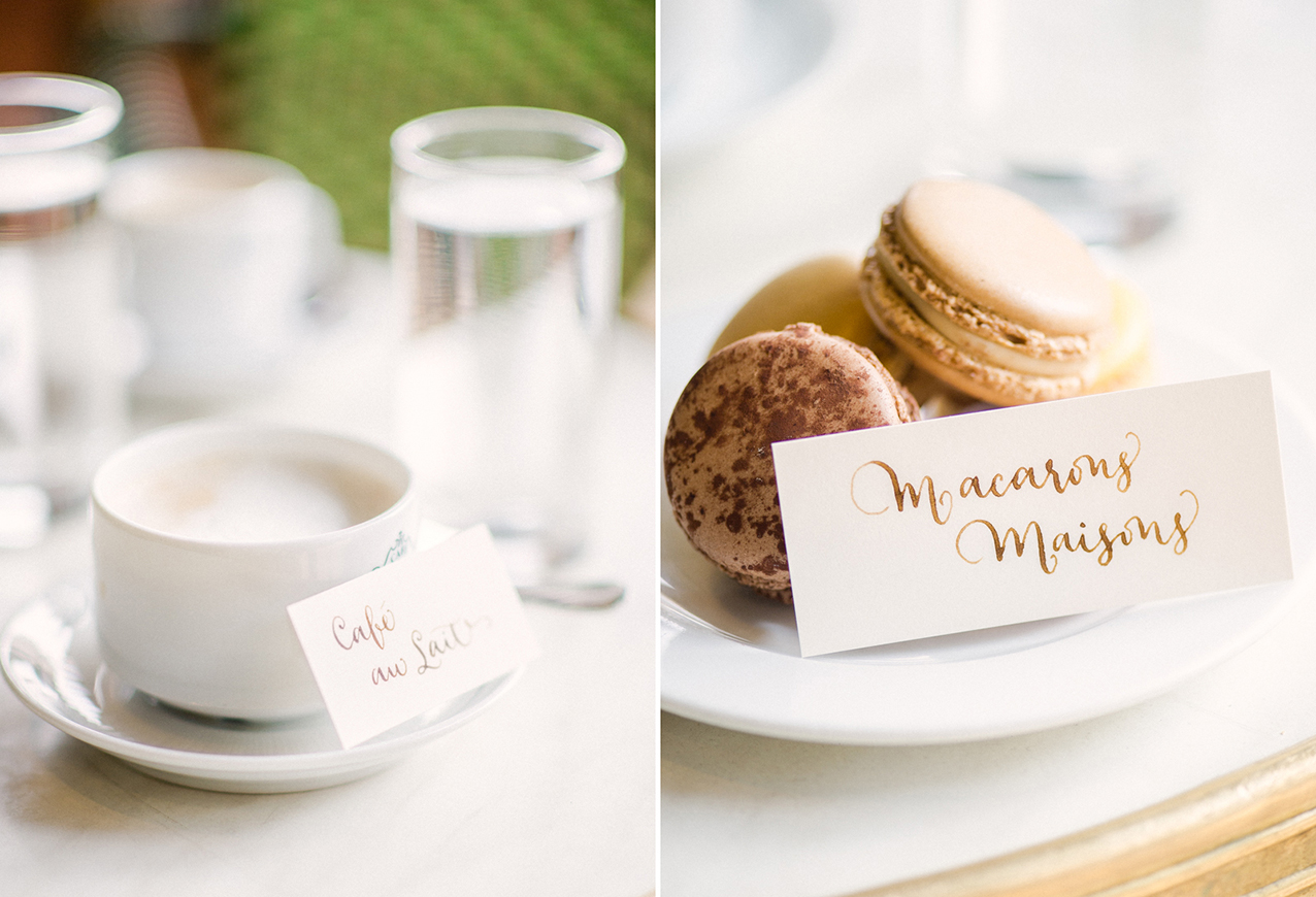 Paris wedding calligraphy place cards by A Creative Affair_Photo by Clara Tuma