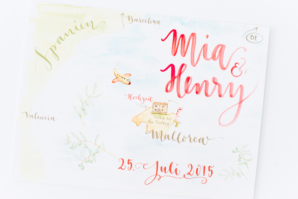 calligraphy and watercolor lettering illustration wedding map by A Creative Affair