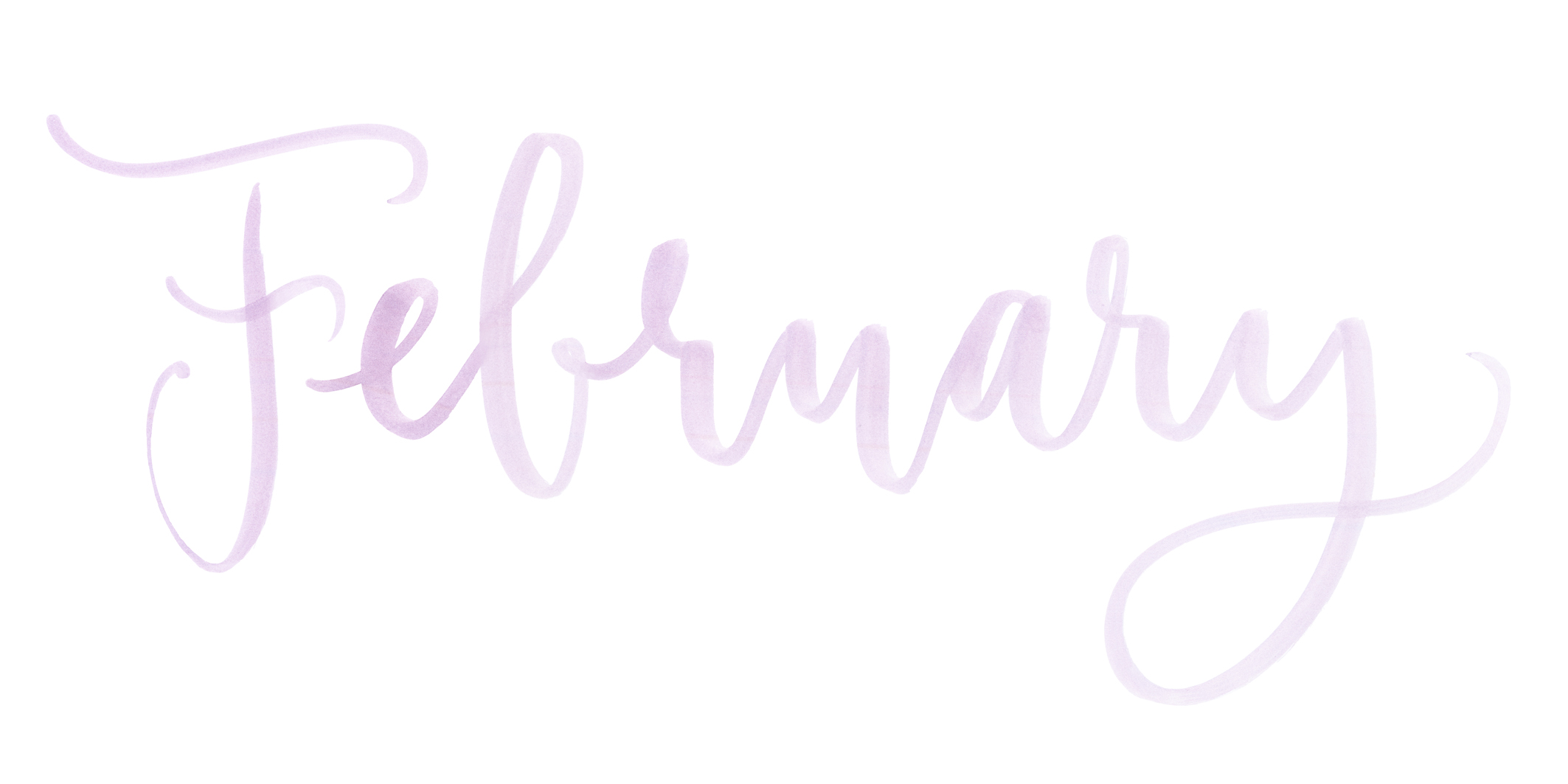 Month February watercolor lettering