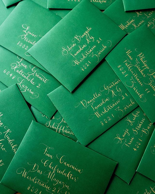 Another project for the lovely people at Gucci - gold ink on thick opaque green envelopes that I worked on last week.