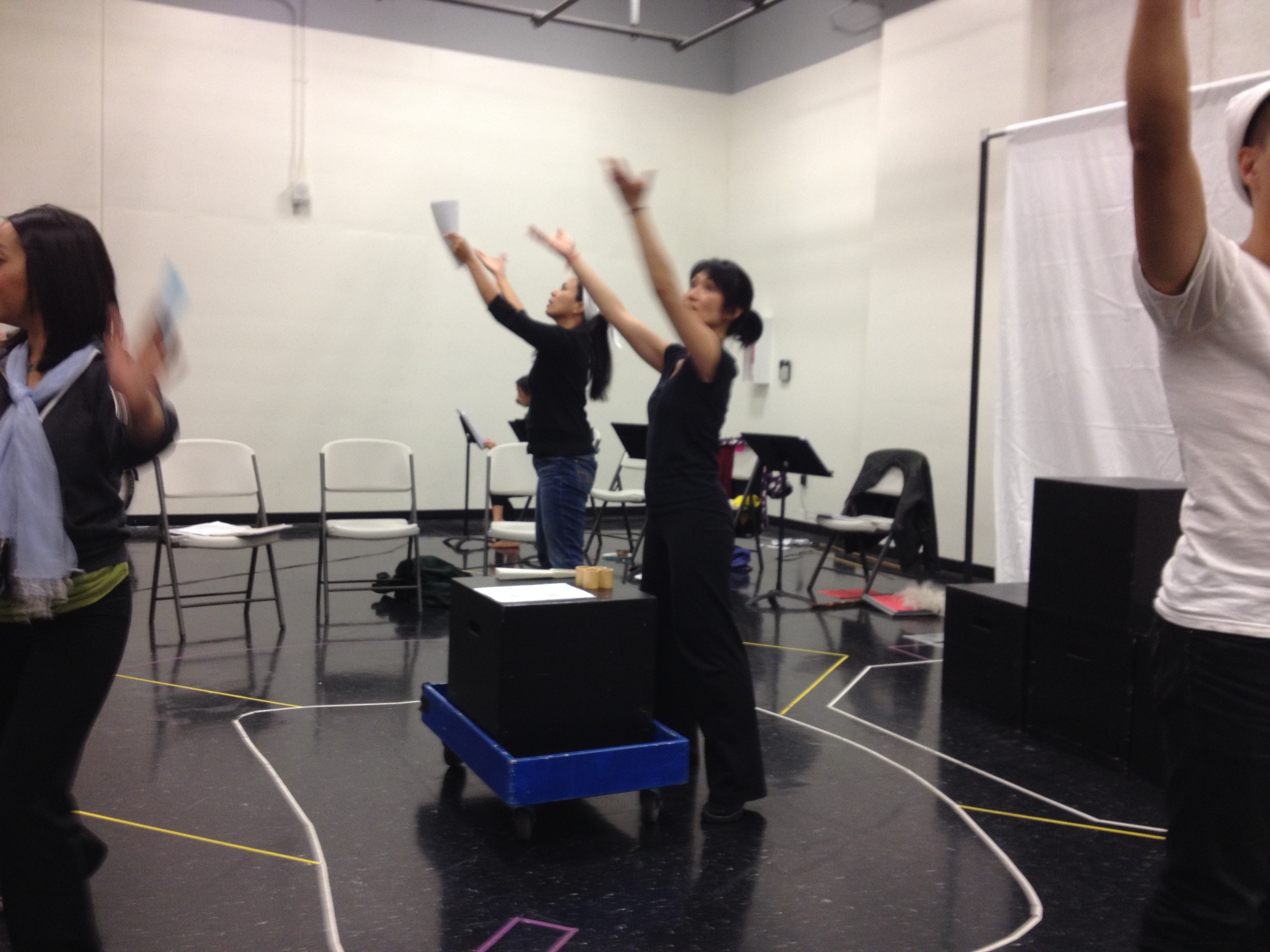 Actors Isabel To, Patricia Pitpitan, Pauli Amornkul & Will Dao during a workshop rehearsal.