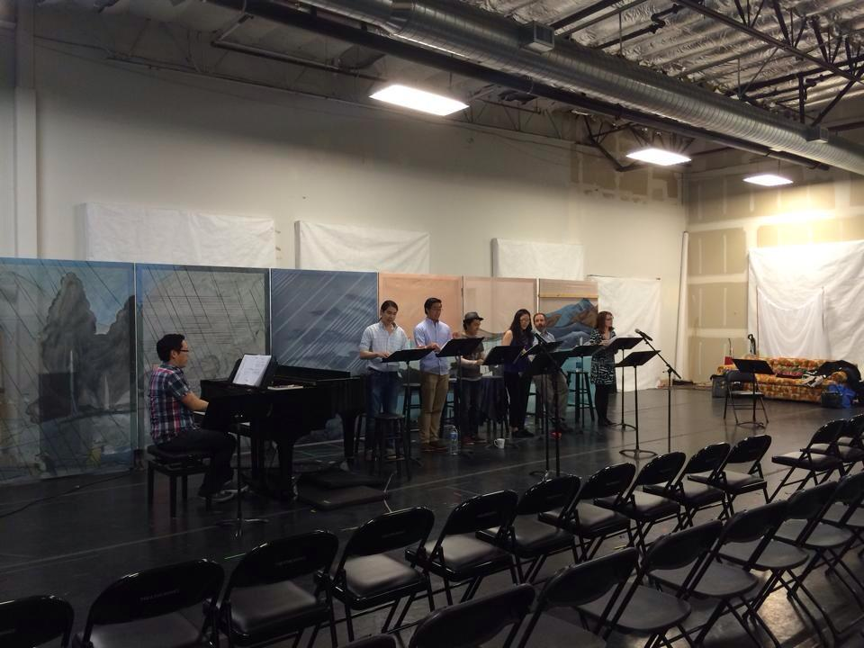 Rehearsal for the first-ever live-anything of  The Four Immigrants.