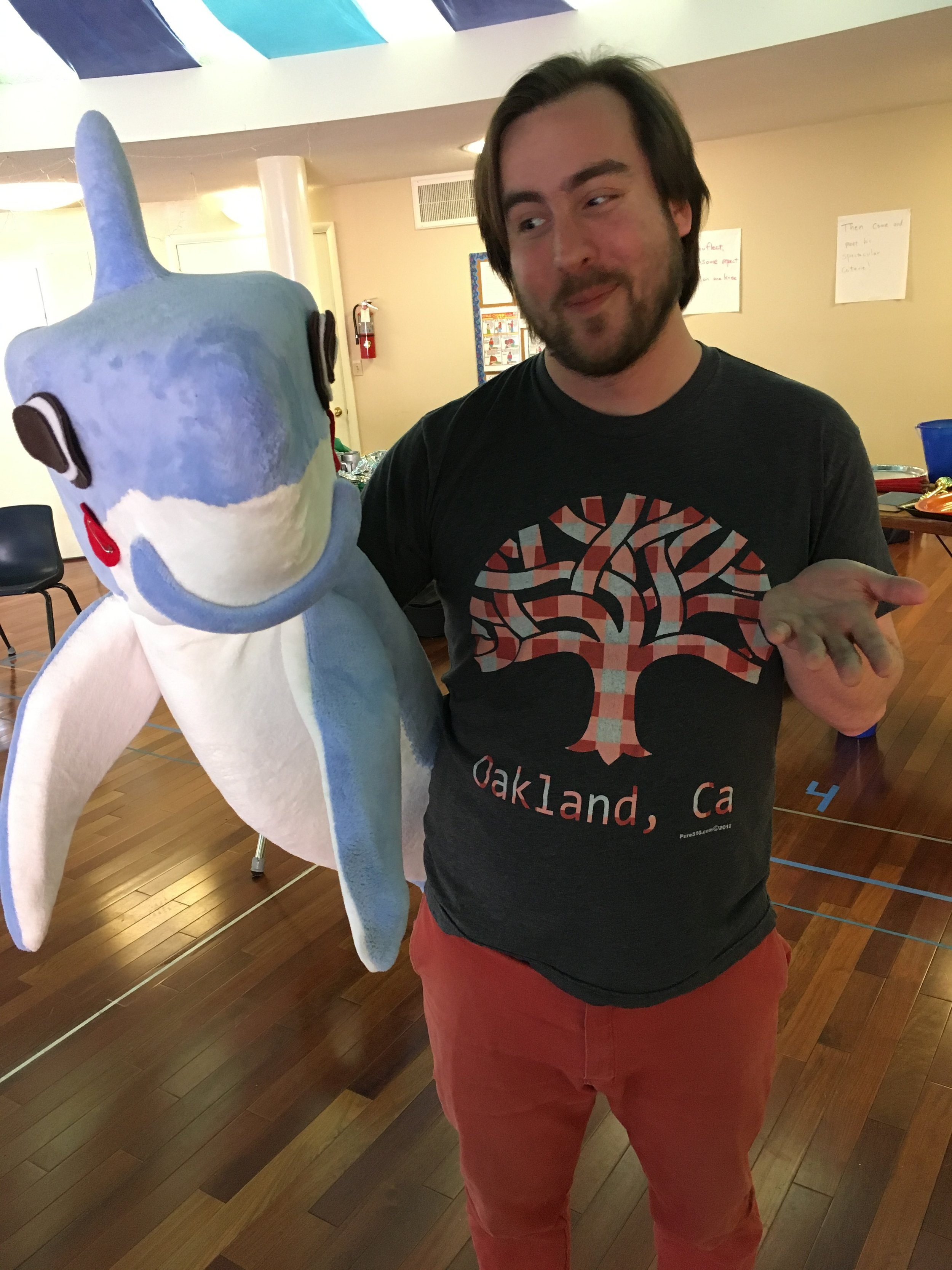 Sharky with actor Austin Zumbro.