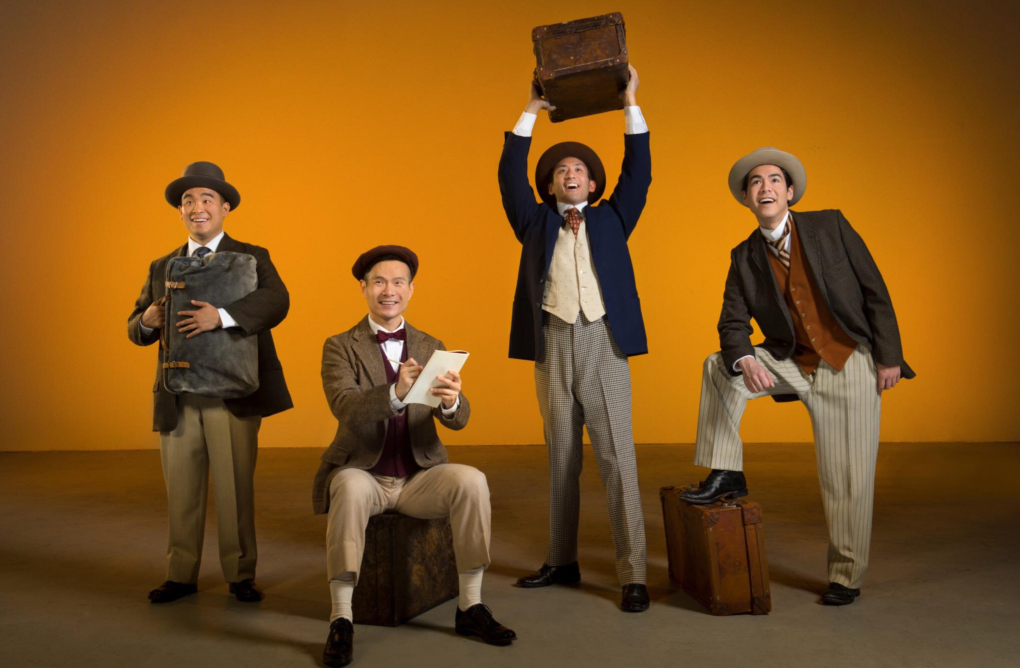 L-R: Frank (Phil Wong), Henry (James Seol), Charlie (Hansel Tan), and Fred (Sean Fenton). Photo Credit:  Kevin Berne