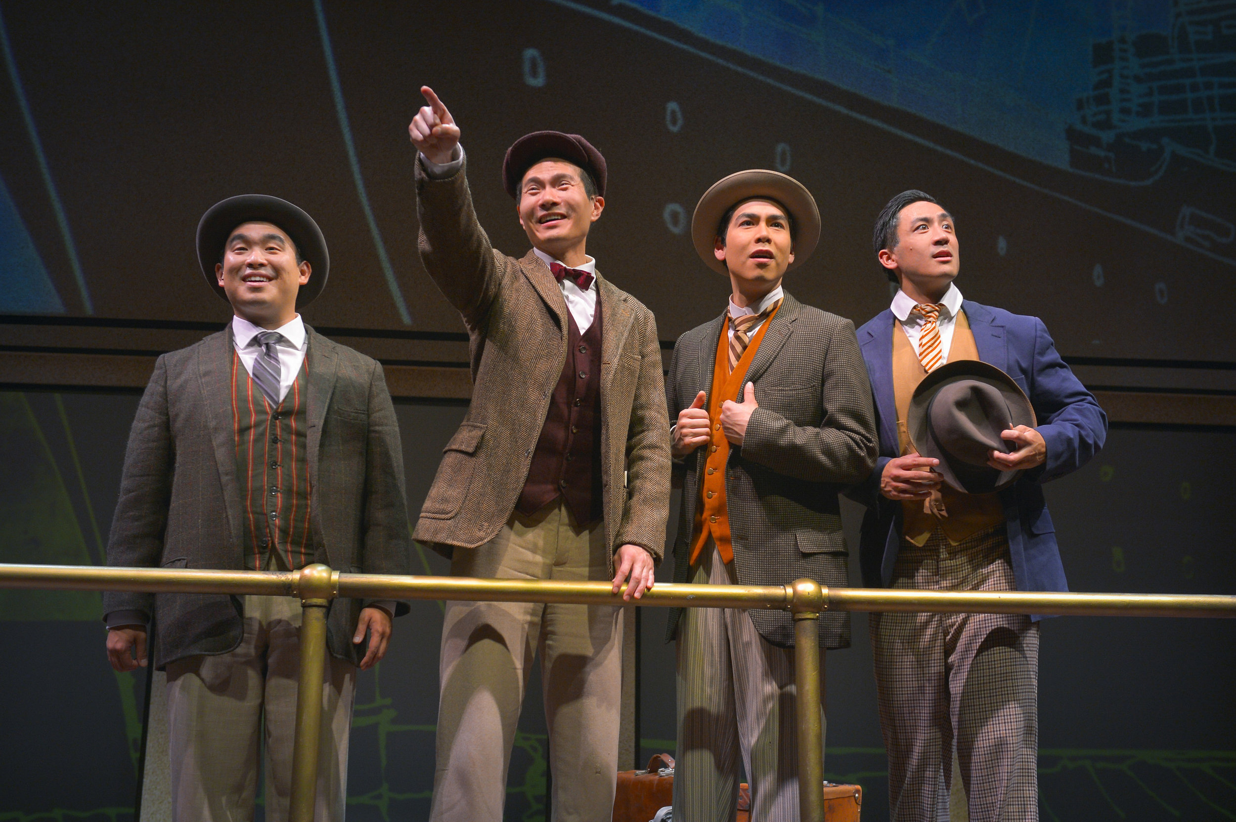 L-R: Frank (Phil Wong), Henry (James Seol), Fred (Sean Fenton), Charlie (Hansel Tan) Photo by Kevin Berne