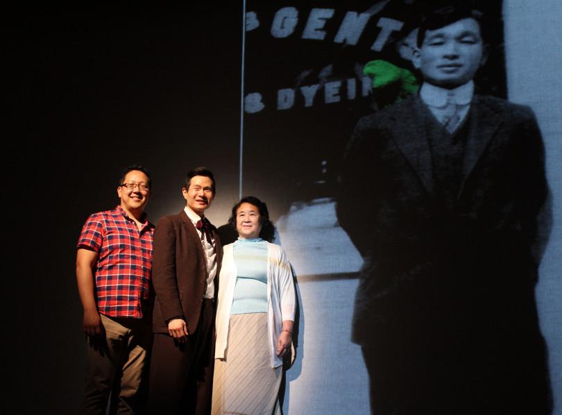 Me, Actor James Seol, and Akiko Kiyama posing with a photo of Henry Kiyama and his parrot
