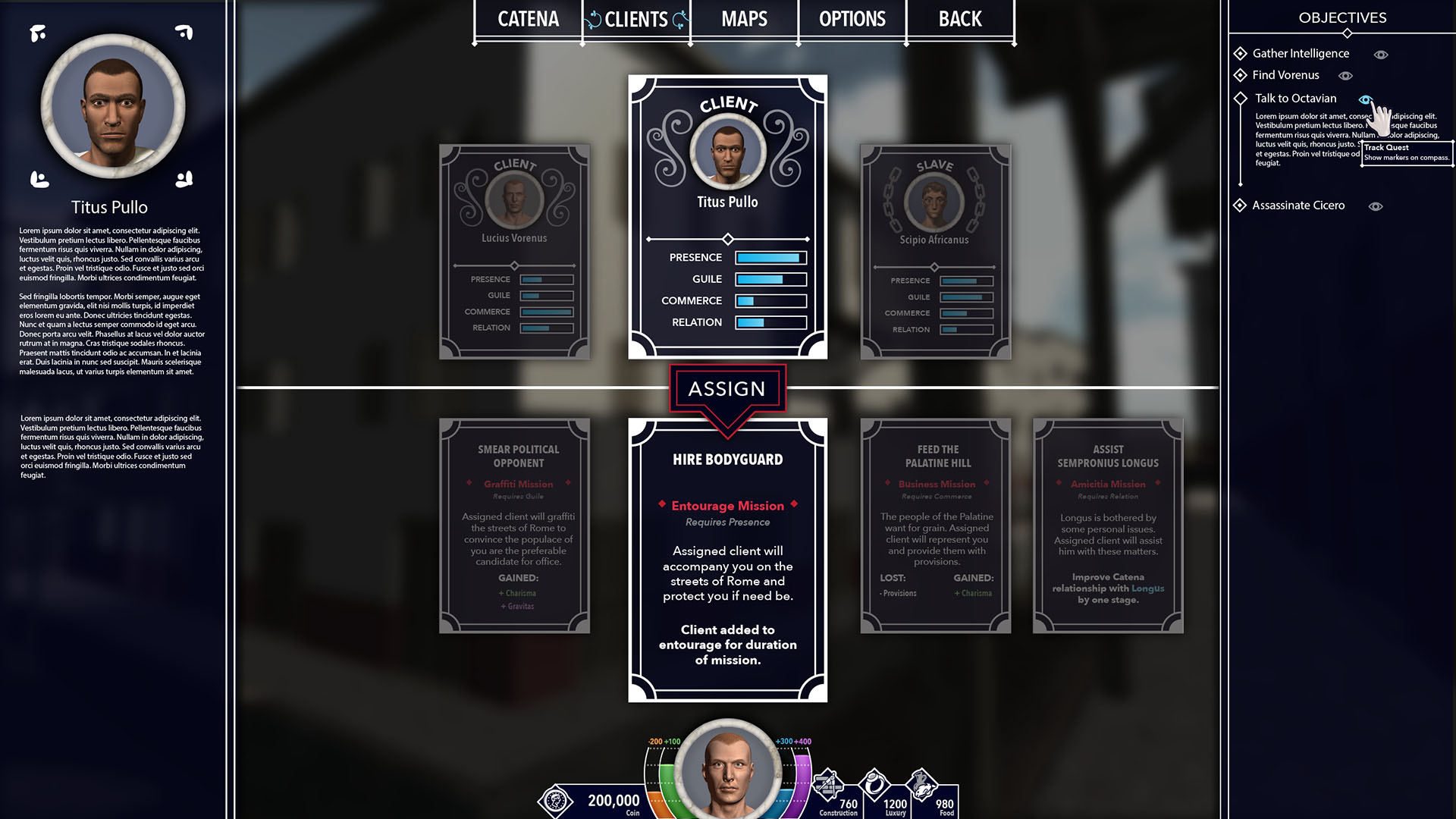 A mockup of the client system. As a wealthy Roman, the player would use their clients to complete tasks and gain social status.