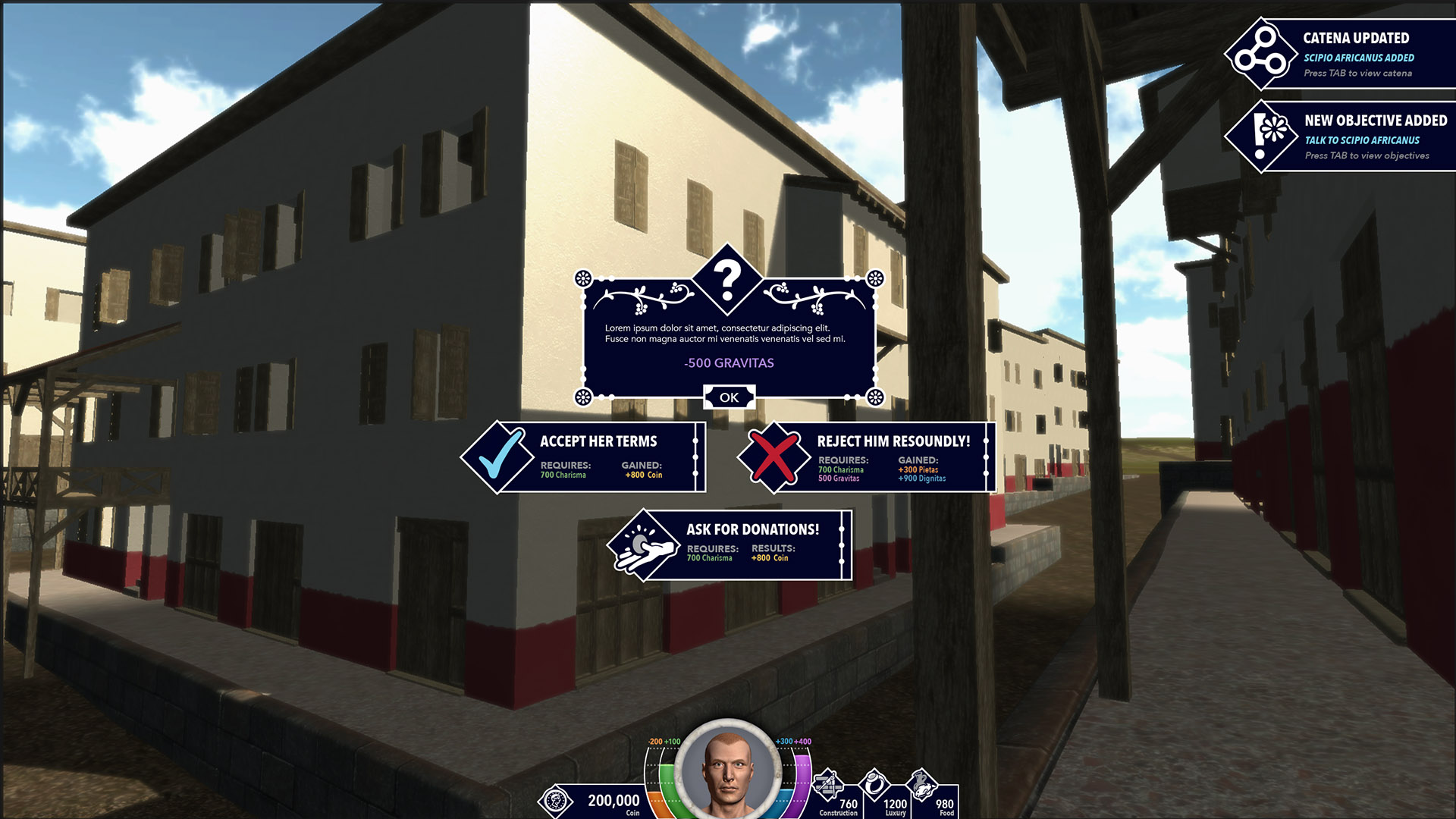 A mockup of several elements displayed during first-person gameplay. Notifications are displayed on the top-right and player decisions are presented via dialog boxes in the center.