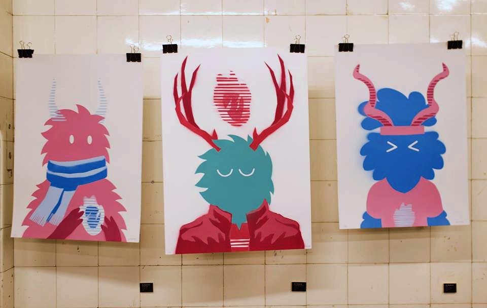 """Dís"" (65 x 45 cm), ""Fylgja Mind"" (70 x 50 cm) and ""Amulet Boy""(65 x 45 cm). Spray paint, originals. Photo by Karen Anna Solberg Sandholm aka Angry Duck"