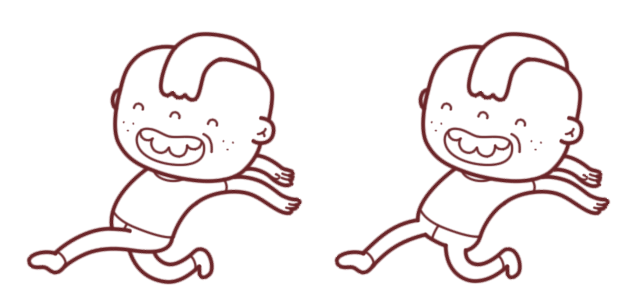 Gilbert, the main character, in his running pose. Mostly in the game he´s also puking.