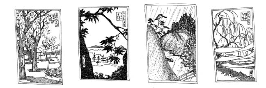 These are drawings I drew in study of a famous Japanese painter. They became a calendar for Abbie Alvin, my mom.