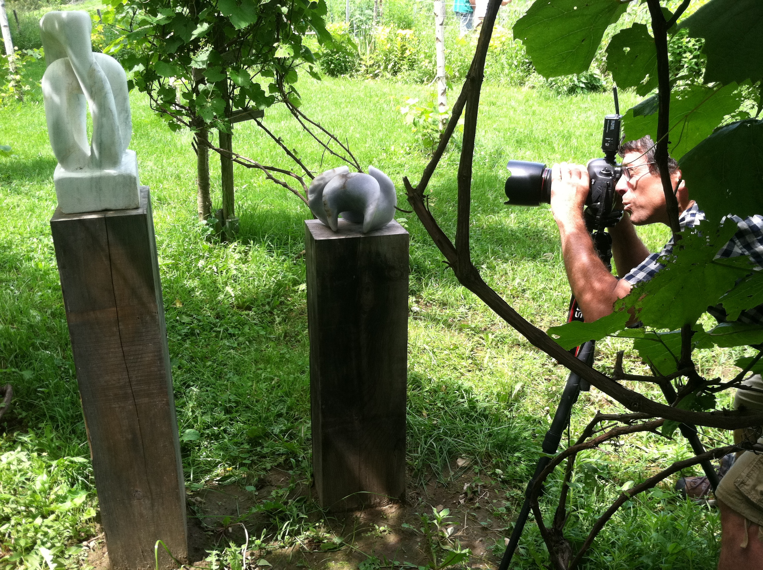 Tony Cenicola capturing an image of two carved pieces in backyard vineyard