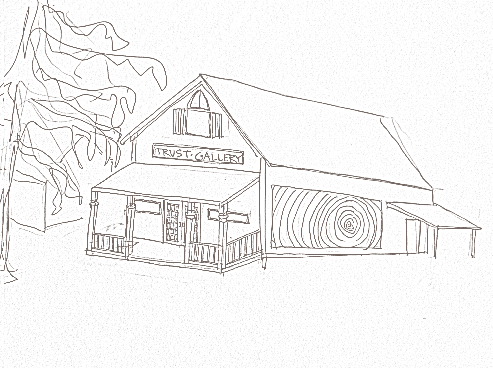 Sketch of the Rock, Paper, Scissors Gallery's planned remodel and expansion, currently underway.
