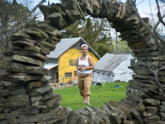 """""""Finding the Muse in Morrisville"""" and """"Thea Alvin draws inspiration for 'poems in stone,"""" by Brent Hallenbeck, Image by Glenn Russell, Burlington Free Press, Sat/Sun, May 24/25, 2014"""