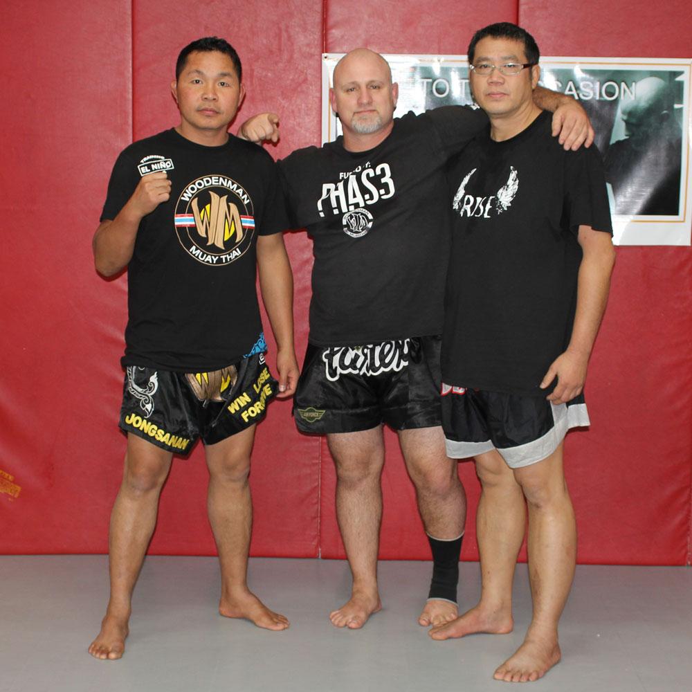 "PHAS3 Training Staff  Jongsanan ""Woodenman"", Sensei Ben Brown, and Monlit Sitpohdaeng"