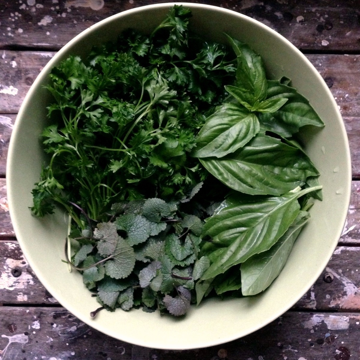 I used garlic mustard and added basil and parsley, but add any herbs you love