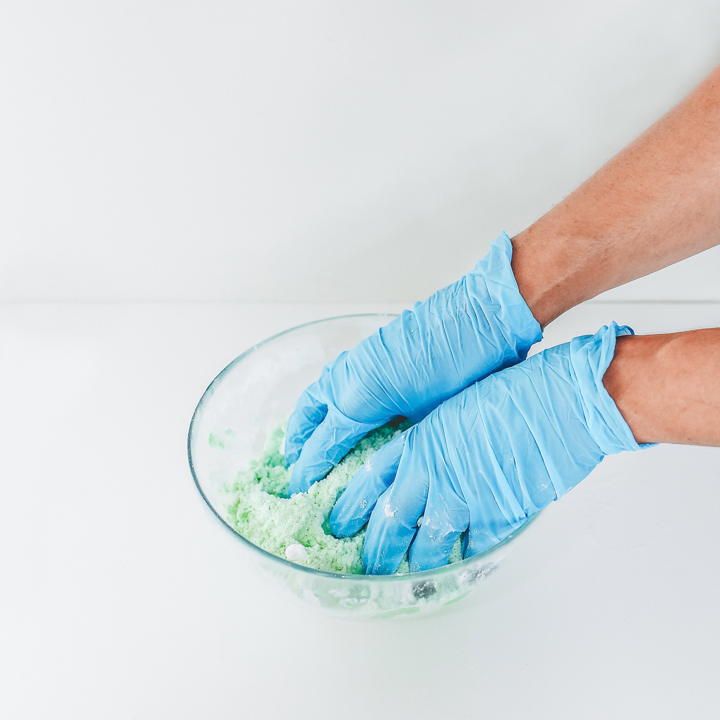 Use hands to distribute moisture