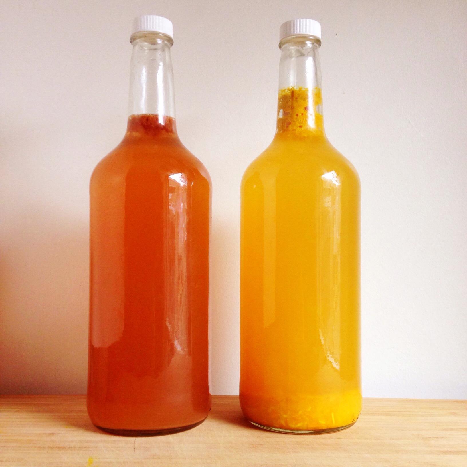 Strawberry Vanilla Kombucha and Turmeric Peach Ginger 'Beer'