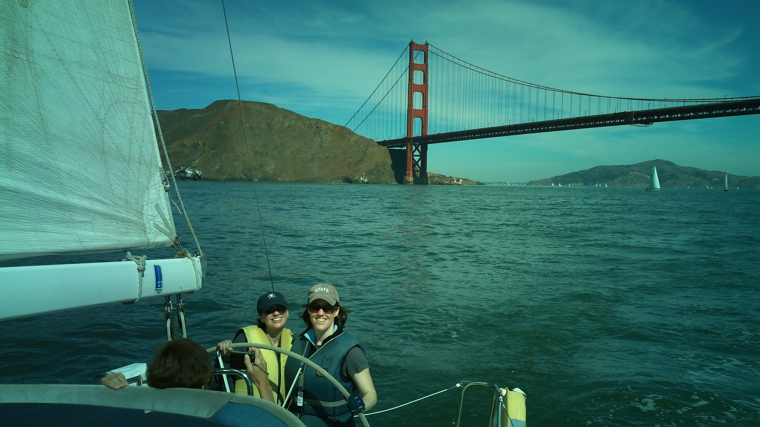 Cynthia & Liz and the Golden Gate Bridge.