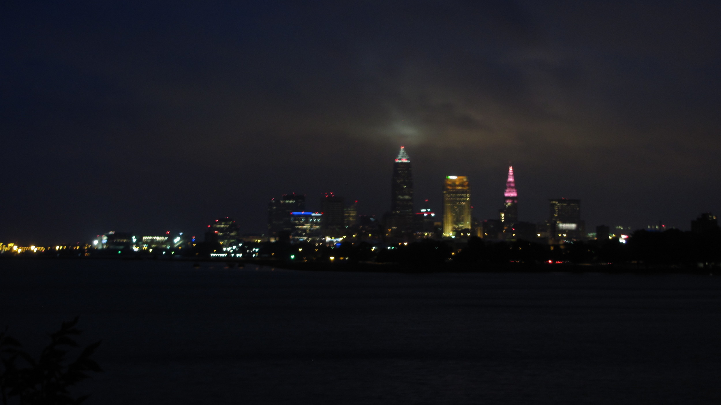 Nightime Cleveland skyline