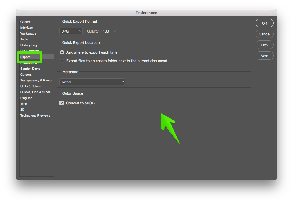 Quick Export As preferences