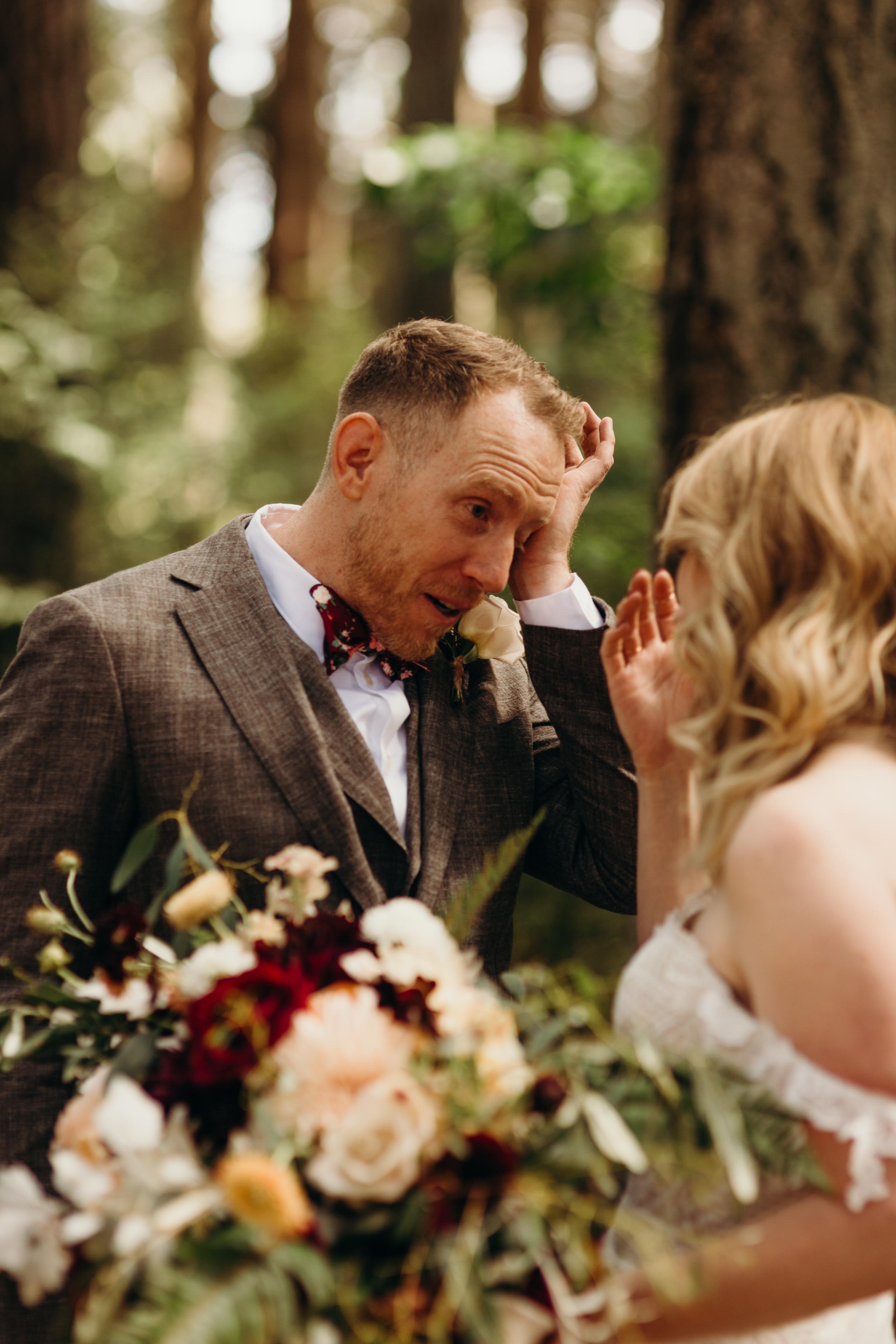 ashley and peter kitsap memorial state park outdoor wedding first look van gachnang photography
